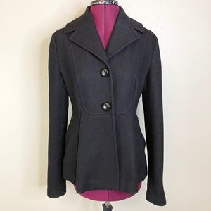 Anthro/ Tulle | Single Breasted Wool Blend Peacoat